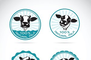 Set of vector a dairy cows label.