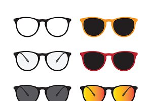 Vector of glasses and sunglasses.