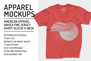 Unisex Fine Jersey V-Neck Mockups