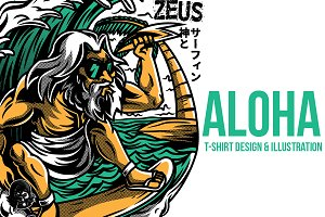 Aloha Zeus Illustration