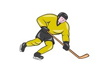 Ice Hockey Player In Action Cartoon