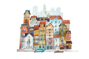 Aquarelle painting of high narrow houses in Europe. Hand drawn postcard  old European street on white background