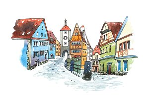 Hand drawn watercolor painting of old town in Germany. Romantic cityscape  Bavarian  Rothenburg ob der Tauber painted on white paper