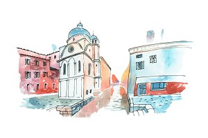 Aquarelle sketch of a street in Venice in Italy with white church and old houses