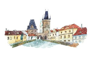 Watercolor painting of Charles bridge in Prague, Czech Republic, Europe.