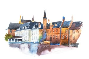 Watercolor cityscape. Traditional architecture of European houses