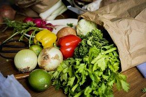 Fresh vegetable in a paper bag