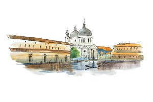 Watercolor sketch of Venice, Italian city, with white cathedral, historic houses and a gondolier.