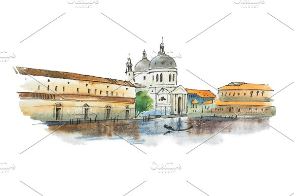Watercolor Sketch Of Venice Italian City With White Cathedral Historic Houses And A Gondolier