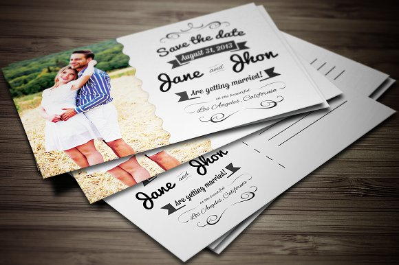 Elegant Wedding Invitation Postcard Templates Creative Market