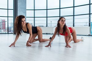 Two attractive young women wearing bodysuits doing cat stretch standing on all fours looking away from camera during photoshoot in loft apartment.