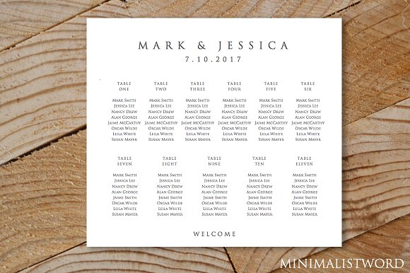 Wedding Seating Chart 11 Tables