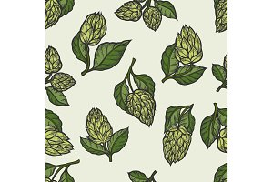 Hop vector seamless pattern