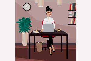 Business woman working at workplace