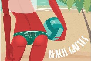 Sexy girl in bikini with volleyball ball