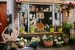 Vintage shop decorated with pots of flowers