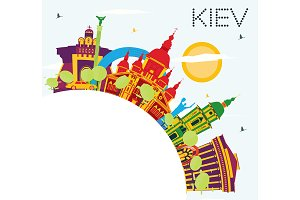 Kiev Skyline with Color Buildings