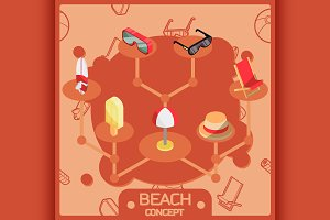 Beach color concept icons