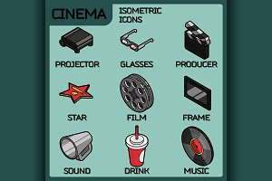 Cinema color outline isometric icons