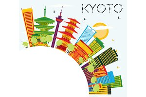 Kyoto Skyline with Color Buildings