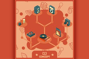 DJ color isometric concept icons