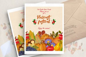 Thanksgiving day. Vector card