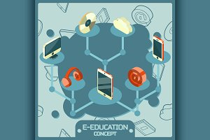 E-education concept icons