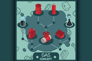 Gas color isometric concept icons