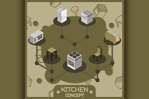 Kitchen color icons set