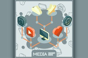 Media isometric concept icons