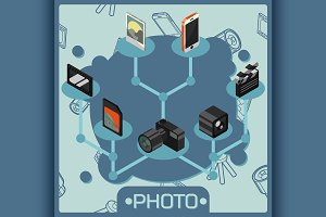 Photo color isometric concept