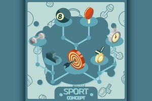 Sport color isometric concept icons