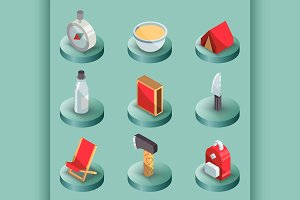 Survival kit color isometric icons