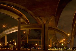 Under the bridge in the evening.