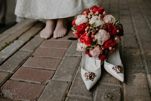 Wedding shoes and bridal bouquet