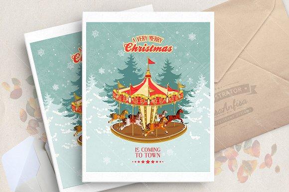 Christmas fair vector poster in Illustrations