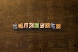 Education in wooden blocks