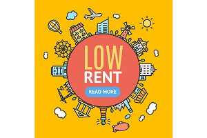 Low Rent Banner. Vector