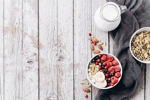 Vegetarian breakfast, copy space
