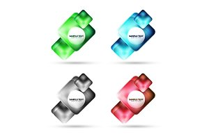 Metallic matte square banner design, glass with reflections web box