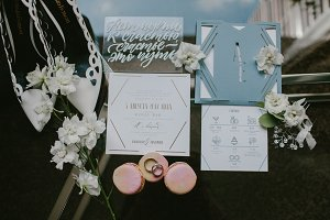 Wedding invitations and wedding rings