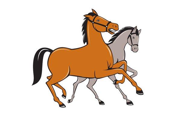 Two Horses Prancing Side Cartoon ~ Illustrations ...