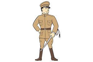 World War One British Officer Standi
