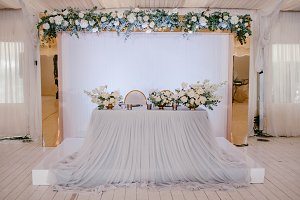 Table for newlyweds with flowers
