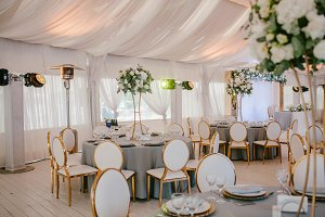Wedding reception in grey