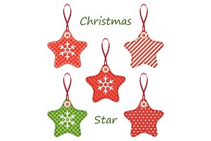 Cute fabric retro stars as Christmas decorations in shabby chic style