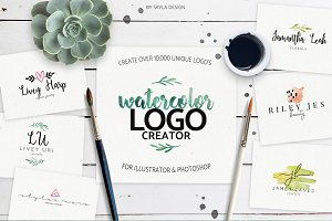 Premade watercolor logo creator kit