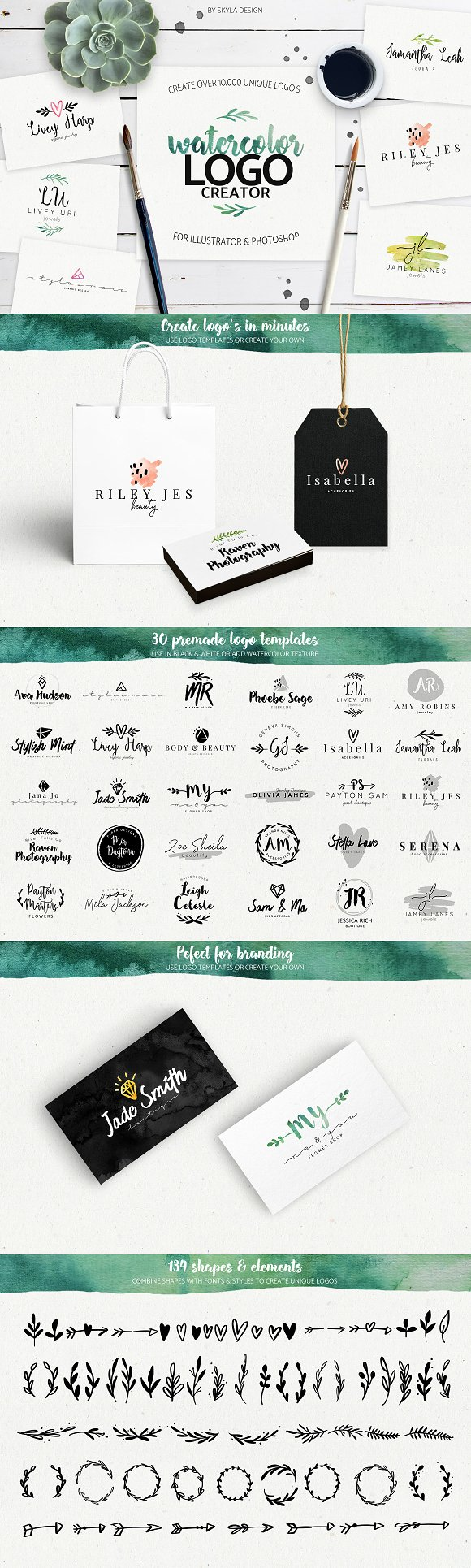 Premade Watercolor Logo Creator Kit Logos