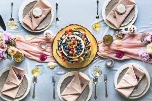 Aerial view of fruity wedding cake