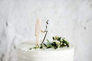 Groom and bride wedding cake